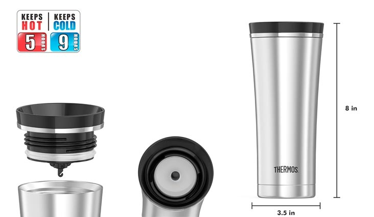 Thermos 16 Ounce Vacuum Insulated Travel Mug, Steel/Black
