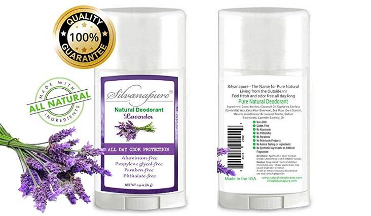 Natural Deodorant Stick Aluminum Free Lavender 2.9 oz Healthy Deodorant   GMO-Free   100% Non-Toxic Deodorant   All Day Protection   Non Irritating   Non Sticky   Great Smelling Lavender Scent
