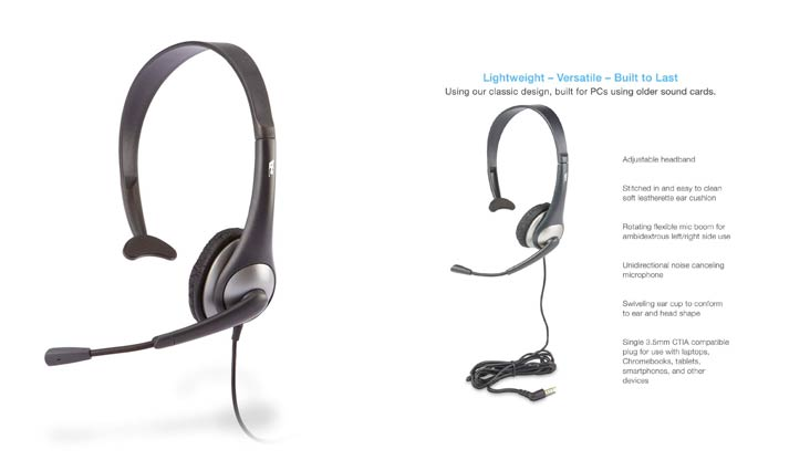 Cyber Acoustics Mono Headset, headphone with microphone, great for K12 School Classroom and Education (AC-104)