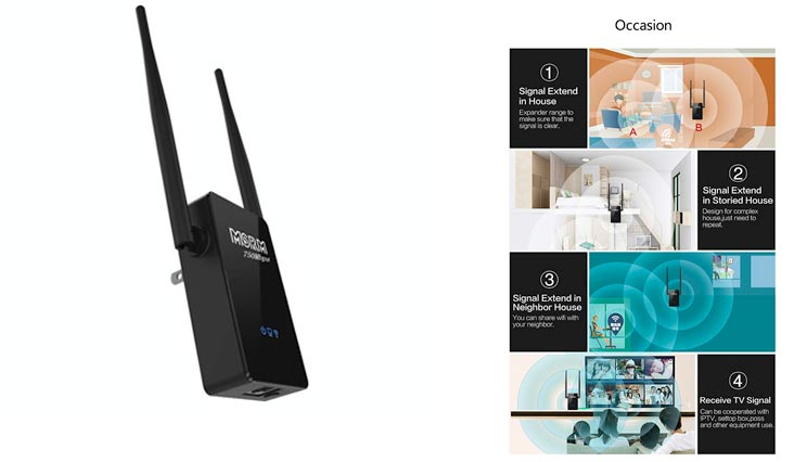 Reidabu MSRM US750 Long WiFi Range Extender 360 degree Full coverage High power 750Mbps Dual Band Range Extender