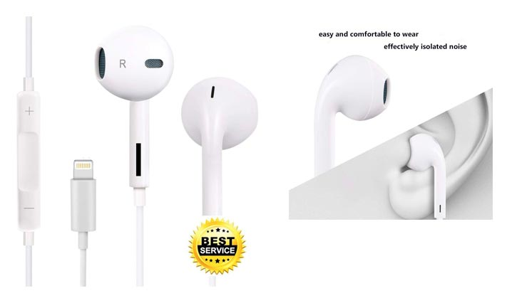 Earbuds, Leimei With Microphone Earphones Stereo Headphones and Noise Isolating headset Made for iPhone 7/7 Plus iPhone8/8Plus iPhone X (Bluetooth Connectivity)