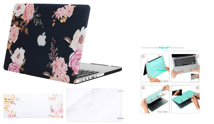 MOSISO Plastic Pattern Flower Hard Case & Keyboard Cover & Screen Protector Only Compatible MacBook Pro Retina 13 Inch (W/O CD-ROM)(A1502/A1425), Release 2015/2014/2013/end 2012, Peony Blossom