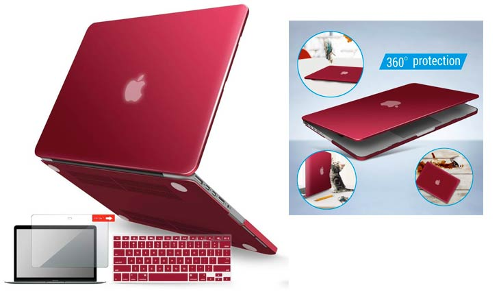 iBenzer Basic Soft-Touch Series Plastic Hard Case, Keyboard Cover, Screen Protector for Apple Previous Generation MacBook Pro 13-inch 13'' with Retina Display A1425/1502, Wine Red