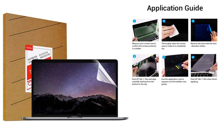 "Tembin High Definition Scratch Proof Laptop Screen Portector for MacBook Pro 13.3"" Anti-Glare Ultra-thin 0.15mm Glossy Screen Guard Film Cover ( 318.5 x 212mm )"
