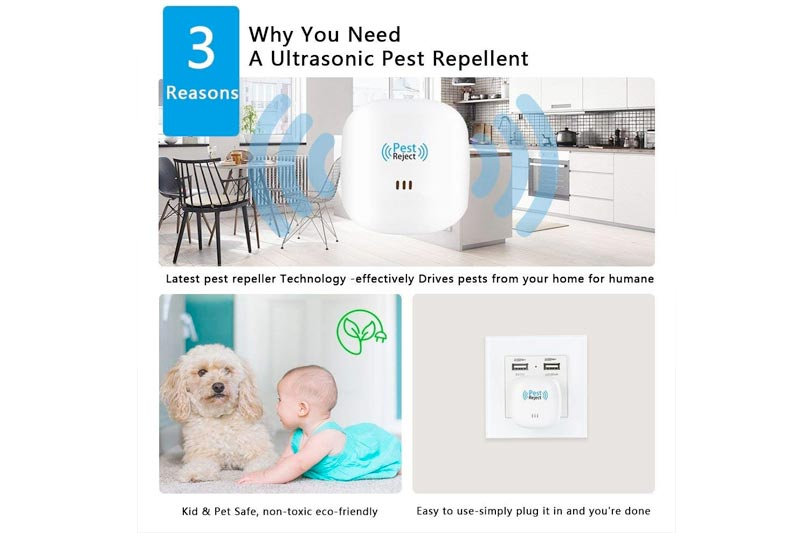 Ultrasonic Pest Repeller Electronic Pest Control Repellent Reject Plug in for Insect by, Mouse, Rats, Spiders, Fleas, Roaches, Bed Bugs, Mosquitoes, Eco-Friendly, Human & Pet Safe(4 Pack)