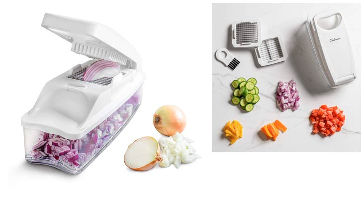 "Vegetable Chopper Pro Onion Chopper by Bellemain Heaviest Duty, Vegetable Dicer Includes Interchangeable Inserts for 1/4"" Dice, 1/2"" Dice & 1/4"" Julienne, Catchment/Storage Container, lid and brush"