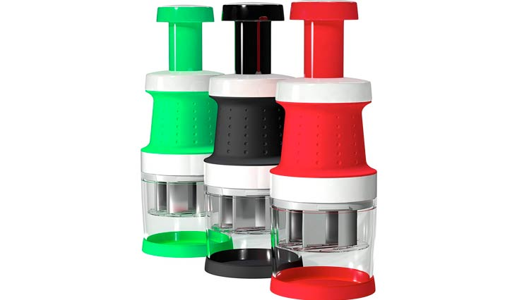Vremi Food Chopper One Piece Salad Vegetable Chopper and Slicer Dicer Manual Mini Hand Chopper Onion Garlic Mincer with Cover for Vegetables Stainless Steel Cutter Blade Black