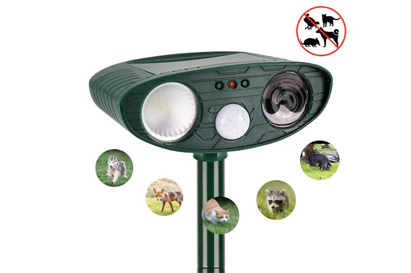 instecho Bird Repellent, Dr.Fasting Ultrasonic Animal Repeller Solar Battery Operated Motion Activated Outdoor Waterproof Electronic Dog Fox Bird Cat Repeller Scarer Deterrent
