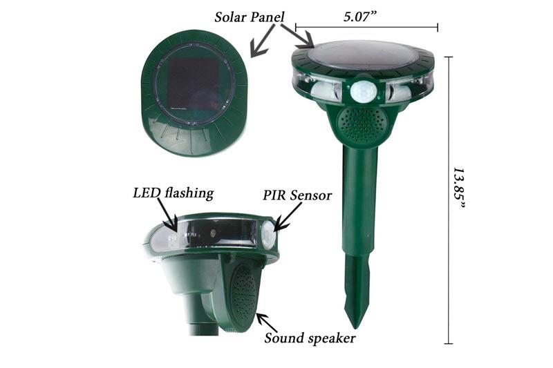 Kukusya Eco-Friendly Ultrasonic Pest Control of Birds, Cats, Dogs, Rats, Foxes, Mice, etc. – Outdoor Waterproof & Solar Powered Pest Repeller - PIR Sensor