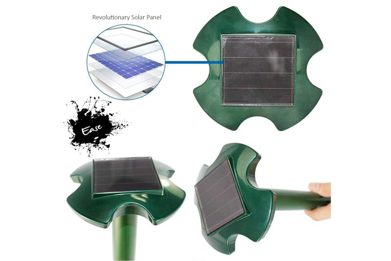 Ease 2 Pack Upgraded Solar Powered Mole Repeller - Underground Animal & Pest Repellent Using Pulsing Ultrasonic Vibration - Weatherproof Outdoor & Garden 2018
