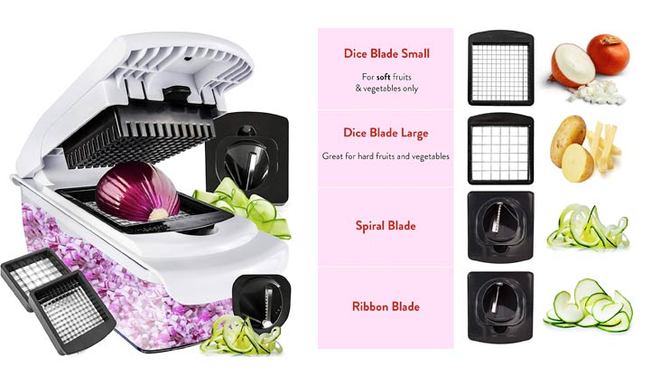 Vegetable Chopper Spiralizer Vegetable Slicer - Slicer Dicer Onion Chopper - Vegetable Dicer Food Chopper Dicer Pro - Food Choppers and Dicers - Spiralizer Vegetable Cutter - Veggie Chopper