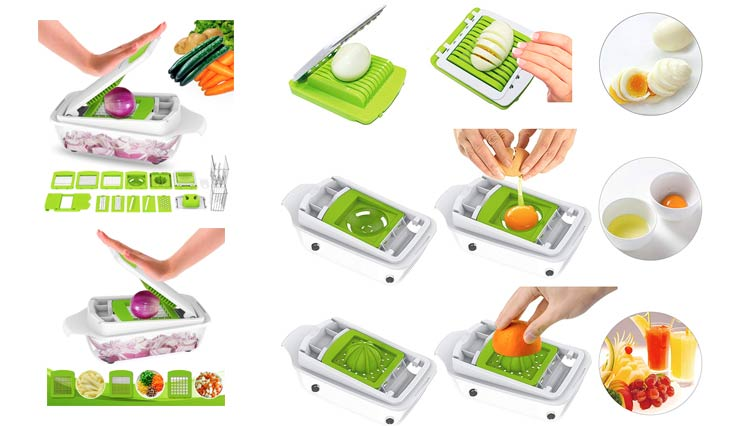 Lovkitchen Vegetable Chopper Dicer Slicer Cutter-Fruit & Vegetable Tools, Slicers for Fruits and Vegetables/Onion Salad Adjustable Stainless Steel Mandoline Food Salad Chopper